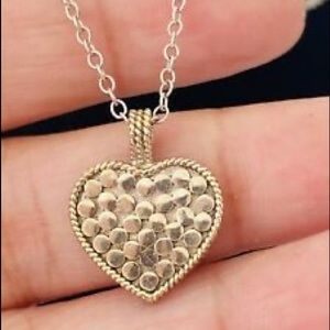 Anna Beck Reversible Gold Silver Heart Necklace